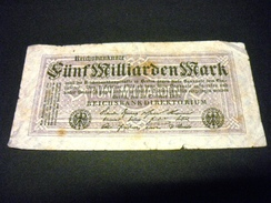 ALLEMAGNE  5 Milliarden / Milliards / 5000000000 Mark 20/10/1923 , Pick N° 123 B , GERMANY - [ 3] 1918-1933 : République De Weimar
