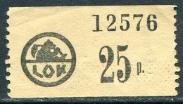 Finland LOK Lahti Cooperative Emergency Currency Money-stamp Revenue 25 Penni Type 1 Wertmarke Notgeld BEAR Ours Bär - Finland