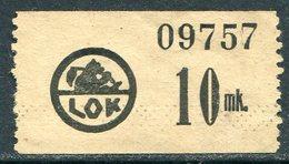 Finland LOK Lahti Cooperative Emergency Currency Money-stamp Revenue 10 Mk. CREAM PAPER Wertmarke Notgeld BEAR Ours Bär - Finland