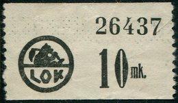 Finland LOK Lahti Cooperative Emergency Currency Money-stamp Revenue 10 Mk. WHITE PAPER Wertmarke Notgeld BEAR Ours Bär - Finland