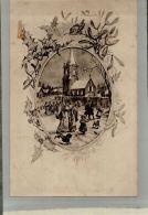 CPA  FANTAISIES  FETES  SUR LA PLACE DE L'EGLISE Collection  Rève   JAN 2017 Div 157 - Künstlerkarten
