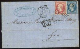 N°14+17  + Pc 3709 + Cachet Smyrne Turquie + Cachet Ambulant Marseille à Lyon 1°  B/lettre  Pour Lyon - 1853-1860 Napoléon III.