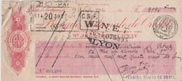Chèque Banque Nationale De Crédit De Saint Jean De Bournay (Isère) De 1932 Cachet Quittance 20 Cts - Chèques & Chèques De Voyage