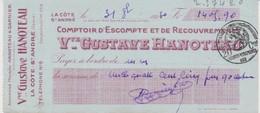 Chèque Banque Gustave Hanoteau La Côte Saint André (Isère) De 1930 Cachet Quittance 20 Cts - Chèques & Chèques De Voyage