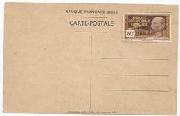 AFRIQUE EQUATORIALE FRANCAISE LIBRE 1940 : TIMBRE 80 C.  SUR CARTE POSTALE GENERAL DE GAULLE - A.E.F. (1936-1958)