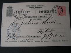 Finnland Karte 1888 über St. Petersburg Nach Teplitz Böhmen - Briefe U. Dokumente