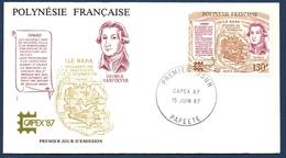 POLYNESIE FRANCAISE FDC 1987 PREMIER JOUR DU PA 197 YT, Découverte De L'île De Rapa - FDC