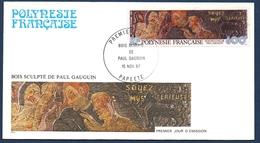 POLYNESIE FRANCAISE FDC 1987 PREMIER JOUR DU PA 198 YT, Bois Sculpté De Paul Gauguin - FDC