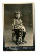 100 - PHOTO CDV - ENFANT SUR PETIT CHEVAL - PHOTO MAUVILLIER BESANCON - Guerre, Militaire