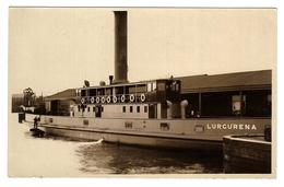 Australia, Tasmania (TAS), Hobart, Vehicular Punt Steam Ferry 'Lurgurena' (later At Newcastle, NSW) Photo Postcard - Tugboats