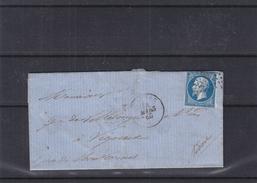 France - Lettre De 1860 - Oblit Cognac - Exp Vers Vigneux - Cachet Bordeaux Paris - Paris à ... - Cachet Montcornet - 1853-1860 Napoléon III.
