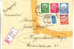 République Fédérale - Lettre Recommandée De 1954 - Oblitération  Büdingen - Exp Vers Heppenheim - Vignette De Berlin - BRD