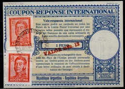 ARGENTINE / ARGENTINA 1957 London Type XVIu Intern. Reply Coupon Reponse Surcharged M$n. 12 / 1 Peso + Stamps 18 Pesos - Interi Postali