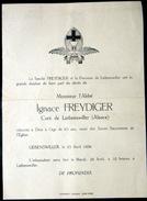 68 LIEBENSWILLER  FAIRE PART DE DECES DU CURE IGNACE FREYDIGER DE LIENENSWILLER  EN 1936 - Décès