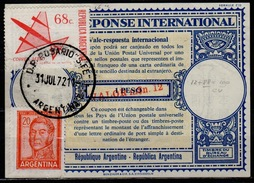 ARGENTINE / ARGENTINA 1972 London Type XVIu Intern. Reply Coupon Reponse Surcharged M$n. 12 / 1 Peso + Stamps 88 Pesos - Interi Postali