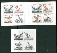 17  Estonie Carnet XX Aigle Eagle Cormoran Canard Duck + Fuillet Noir Et Blanc - Adler & Greifvögel