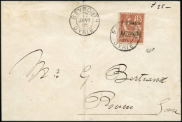N°27 1pi Sur 15c Vermillon S/lettre (pli) Obl Beyrouth 17/01/05 Pour Rouen, Cachet D'arrivée Au Verso 25/1/05
