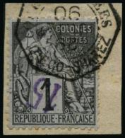 N°1A 15 Sur 1c Noir S/azuré, Surcharge Renversée Signé Scheller - TB