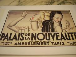 ANCIEN PUBLICITE ART DECO DE J.DUPAS MAGASIN AMEUBLEMENT TAPIS PALAIS DE LA NOUVEAUTE 1925 - Altri