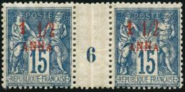N°3 1 1/2a Sur 15c Bleu, Paire Mill 6 (cote Dallay) - TB