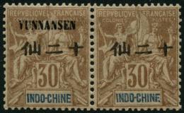 N°9 30c Brun, Paire Horizontale, Sans Yunnansen Tenant à Normal - TB
