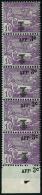 N°83 3c Sur 10c Violet S/azuré, Bande De 5 Verticale, Surcharge Décalée Le Timbre Supéri
