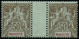 N°20 50c Bistre S/azuré, Paire Interpanneau - TB