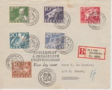 2 Brieven FDC  Zweden Registered Mail Stockholm - Antwerpen ???? - ... - 1855 Préphilatélie