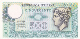 ITALIA BANCONOTA DA LIRE 500 FDS MERCURIO DECRETO 20/12/76  SERIE P19 416440 - 500 Lire