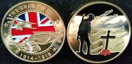 GREAT BRITAN WORLD WAR 1 THE GREAT WAR BRITISH REMEMBRANCE TROOPS UNION JACK POPPY GOLD COIN - Professionals/Firms