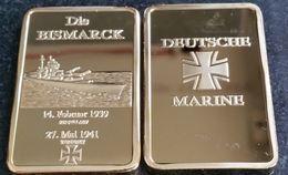 DEUTCHE GERMAN MARINE CROSS DIE BISMARCK 1939 1 OZ GOLD BAR - Professionals/Firms