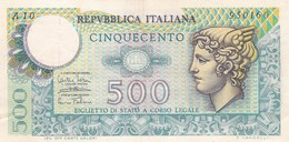 ITALIA LOTTO DI 3 BANCONOTE CIRCOLATE DA LIRE 500 MERCURIO DECRETO 14/2/74 E 2/4/1979 - 500 Lire