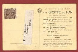 Preo Bruxelles Brussel 1920 Op Reclamekaart Grotten Van Han - Roller Precancels 1920-29