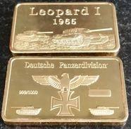 DEUTCHE GERMAN PANZER DIVISION LEOPARD 1 1965 TANK COMMEMORATIVE 1 OZ GOLD BAR - Professionals/Firms