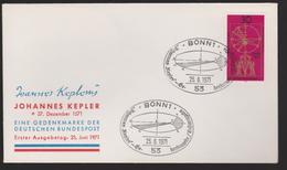 M 229) BRD 1971 Mi# 688 FDC Bonn Ellipse: Johannes KEPLER, Mathematik Naturwissenschaftler Astronom Astronomie - Astronomie