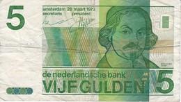 BILLETE DE HOLANDA DE 5 GULDEN DEL AÑO 1973  (BANKNOTE)  VONDEL - 5 Florín Holandés (gulden)