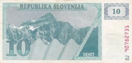 SLOVENIA  10 TOLARJEV    1990  BANCONOTA CIRCOLATA - Slovenia