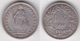 SUISSE 1 Franc 1907 En Argent (voir Scan) - Suisse