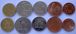 ZAMBIA SERIE 5 MONETE 1 KWACHA 50-25-2-1 NGWEE FDC UNC - Sambia