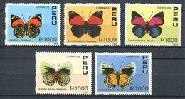 190 PEROU 1990 - Yvert 923/27 - Papillon - Neuf ** (MNH) Sans Trace De Charnière - Peru