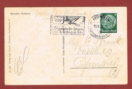 11e Olympiade Segeln Kiel   4 - 14 August Sloganstempel Op Kaart München - Summer 1936: Berlin