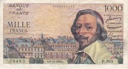 BILLETE DE FRANCIA DE 1000 FRANCOS DEL 6-12-1956 DE RICHELIEU  (BANKNOTE) - 1 000 F 1953-1957 ''Richelieu''