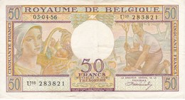BILLETE DE BELGICA DE 50 FRANCS DEL AÑO 03-04-1956  (BANK NOTE) - [ 2] 1831-... : Reino De Bélgica