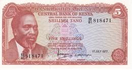 BILLETE DE KENIA DE 5 SHILINGI DEL AÑO 1977 EN CALIDAD EBC (XF) (BANK NOTE) - Kenya