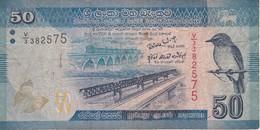 BILLETE DE SRY LANKA DE 50 RUPEES DEL AÑO 2010  (BANKNOTE) PAJARO-BIRD - Sri Lanka