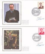 ALBERT II - Série De 2 FDC Sur Soie / Op Zijde - ( S/z) - Timbres N° 2559/60 - Signés Par Les Imprimeurs - 1991-00
