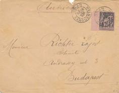 Enveloppe 1896 Signée Calves Avec 25 C Sage Bdf Oran à Budapest (Autriche-Hongrie) TB. - Postmark Collection (Covers)