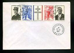 Marcophilie,de Gaulle,hommage Au Général De Gaulle Sur Lettre Obliterée 59 Lille Bourse 9.11.1971 - De Gaulle (General)