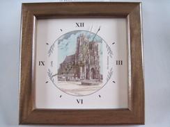HORLOGE Fond Représentant L'Eglise Abbatiale De CORBIE (Somme)  Yves Ducourtioux T.B.E. (neuve) Encadrement Bois - Clocks