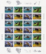 Taiwan 1992, Animals, Luntra, Bats, Bear, Felin, Sheetlet